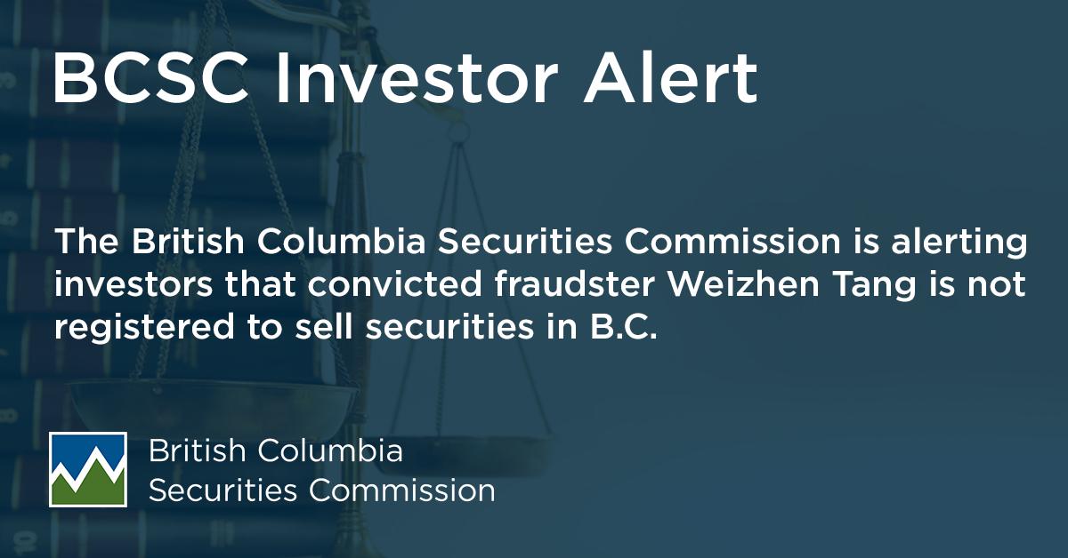 Investor Alert: Weizhen Tang