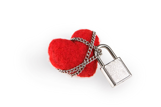 The image of a heart with a lock and chain is meant to empower people to learn about the warning signs of romance scams and how to protect yourself against romance fraud.