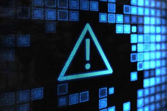 This image of a warning sign on a pixelated black and blue background represents the need to understand all the risks that can come along with investing in crypto-assets like cryptocurrencies.