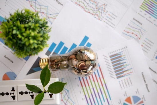 The image is meant to demonstrate the concept of socially responsible investing: shows a coin lamp and a plant sitting on top of various financial documents.