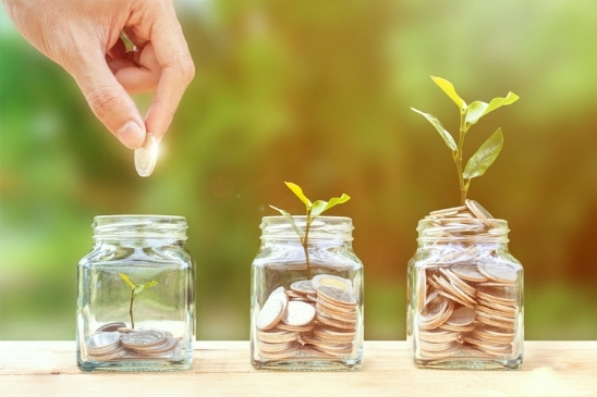 The image shows a hand holding a coin, as well as three jars with coins and growing plants inside.